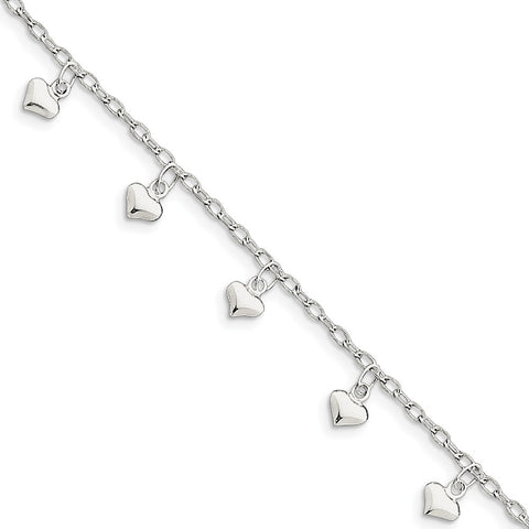 Sterling Silver Jewelry Themed Anklets Hollow 10inch Polished Hearts Anklet adjustable to 9