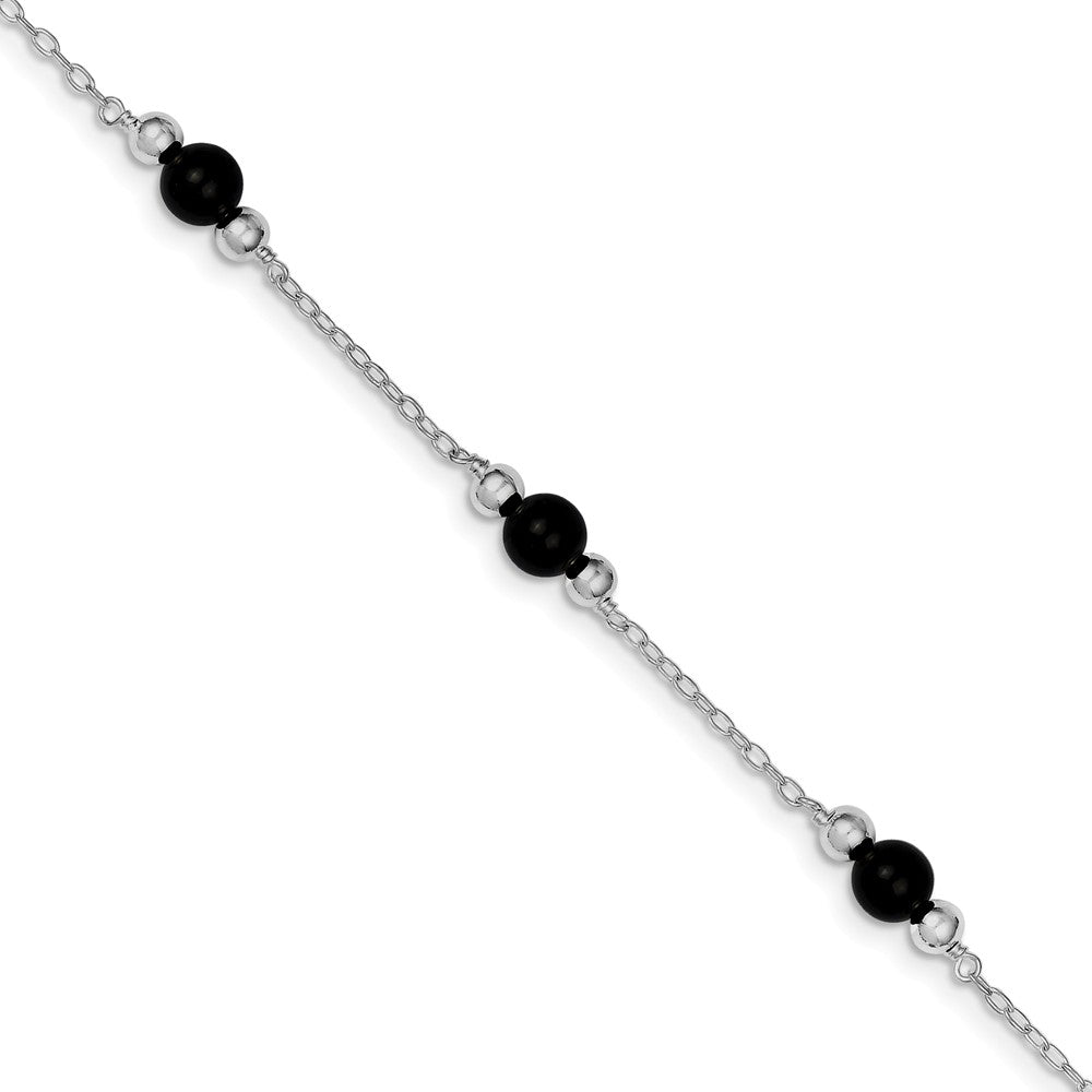 Black Onyx in Rhodium-Plated Sterling Silver, Beaded Anklet, 9 Inch, Item A8221-09 by The Black Bow Jewelry Co.