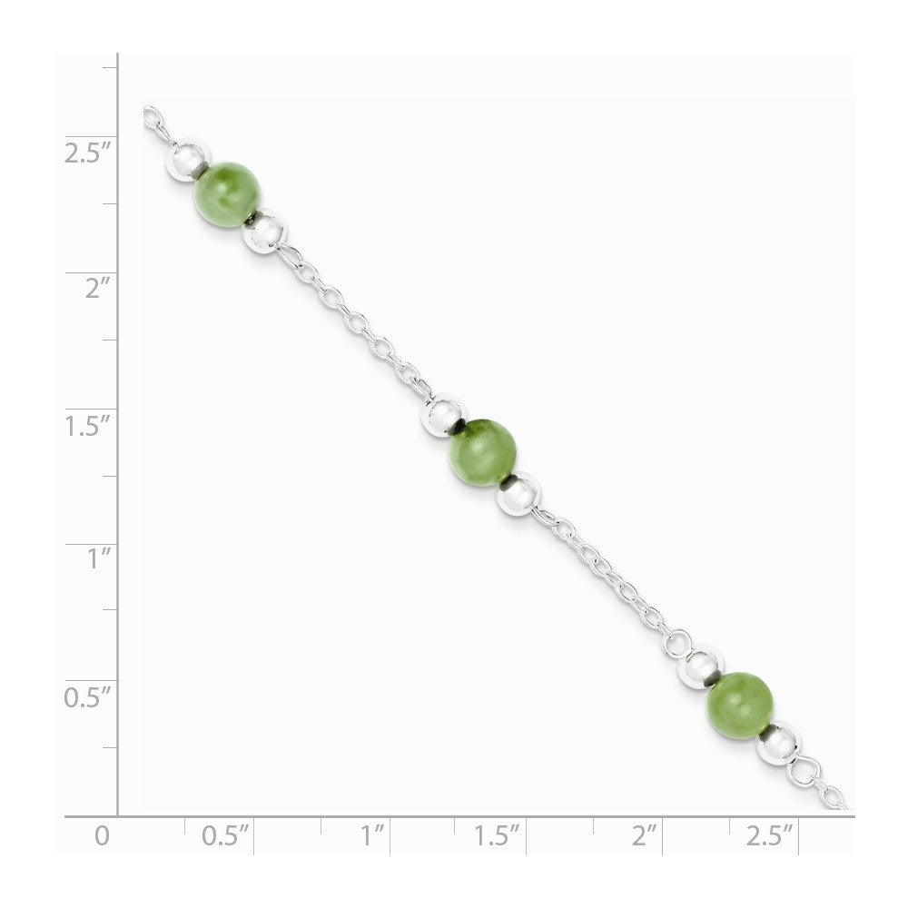 Alternate view of the Green Jade in Rhodium-Plated Sterling Silver, Beaded Anklet, 9 Inch by The Black Bow Jewelry Co.