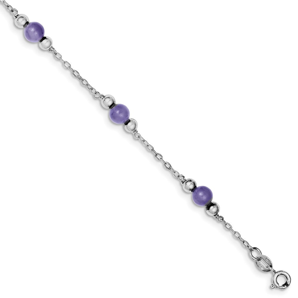 Lavender Jade in Rhodium-Plated Sterling Silver, Beaded Anklet, 9 Inch, Item A8223-09 by The Black Bow Jewelry Co.