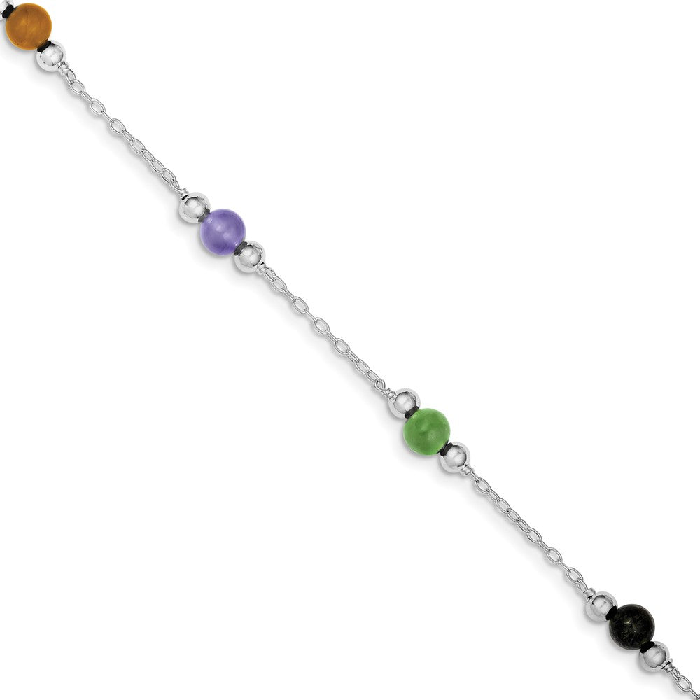 Sterling Silver Multi-Color Jade, 9 Inch Beaded Anklet, Item A8224-09 by The Black Bow Jewelry Co.