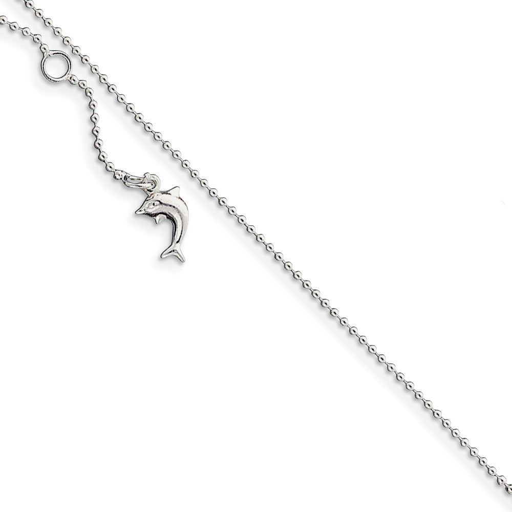 Sterling Silver Adjustable Dolphin Anklet, 9-10 Inch, Item A8225-10 by The Black Bow Jewelry Co.