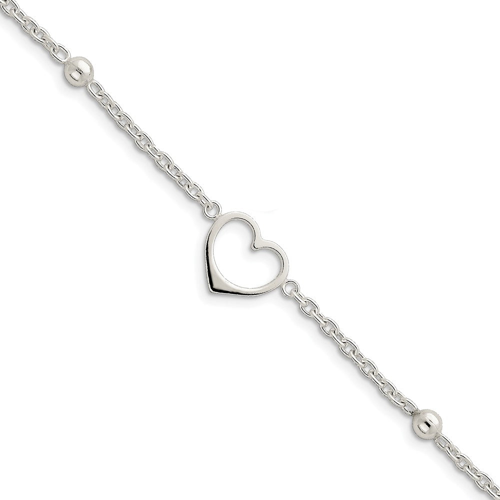 Sterling Silver 15mm Open Heart Charm Anklet, 10 Inch, Item A8230-10 by The Black Bow Jewelry Co.