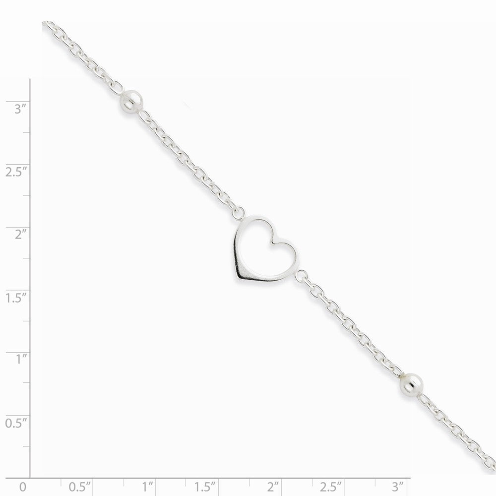 Alternate view of the Sterling Silver 15mm Open Heart Charm Anklet, 10 Inch by The Black Bow Jewelry Co.