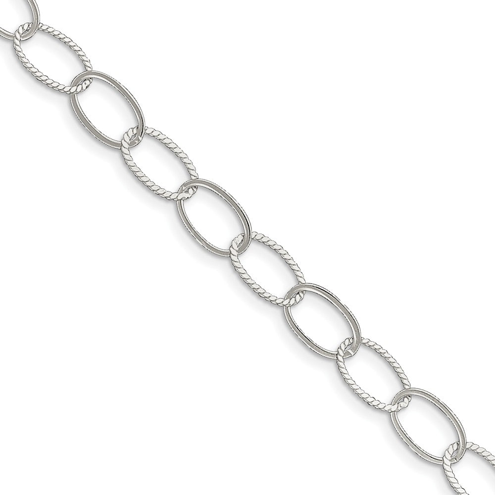 Sterling Silver 9mm, Oval Link Anklet, 10 Inch, Item A8246-10 by The Black Bow Jewelry Co.