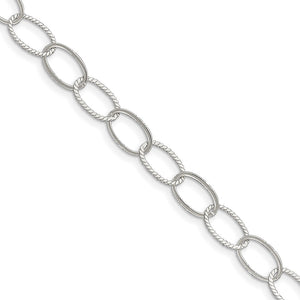Sterling Silver 9mm, Oval Link Anklet, 10 Inch - The Black Bow Jewelry Co.