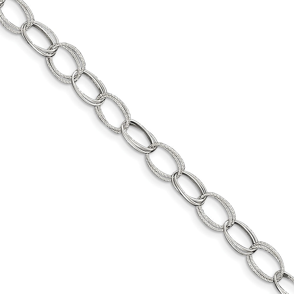 Sterling Silver Double Oval Link Anklet, 10 Inch, Item A8247-10 by The Black Bow Jewelry Co.