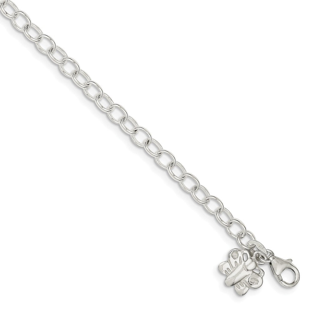 Sterling Silver Butterfly Charm Anklet, 10 Inch, Item A8257-09 by The Black Bow Jewelry Co.
