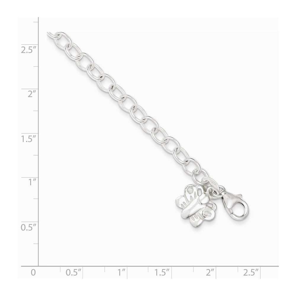 Alternate view of the Sterling Silver Butterfly Charm Anklet, 10 Inch by The Black Bow Jewelry Co.