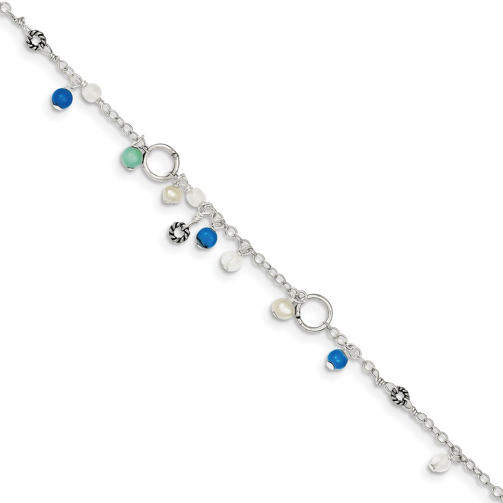 Sterling Silver Turquoise, Crystal And FW Cultured Pearl Anklet, 9 in, Item A8260-09 by The Black Bow Jewelry Co.