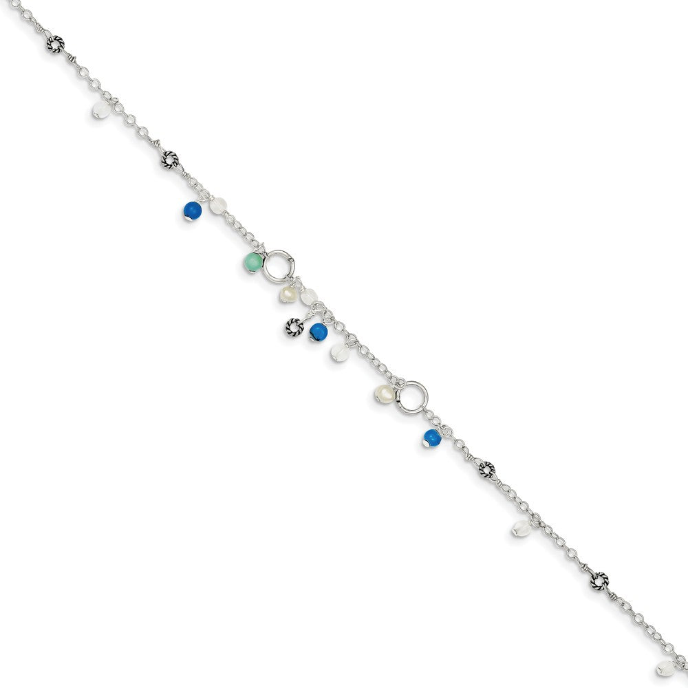 Alternate view of the Sterling Silver Turquoise, Crystal And FW Cultured Pearl Anklet, 9 in by The Black Bow Jewelry Co.