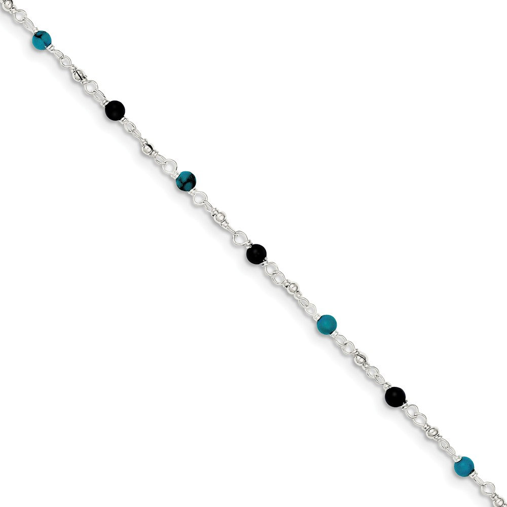 Sterling Silver Turquoise and Onyx, Beaded Anklet, 10 Inch, Item A8263-10 by The Black Bow Jewelry Co.