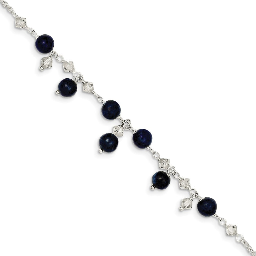 Sterling Silver Clear Crystal And Blue Lapis Anklet Bracelet, 9 Inch, Item A8264-09 by The Black Bow Jewelry Co.
