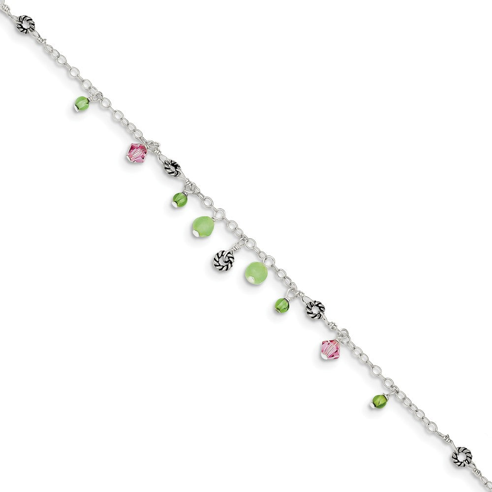 Sterling Silver Pink Crystal, Green Quartz And Peridot Anklet, 9 Inch, Item A8269-09 by The Black Bow Jewelry Co.