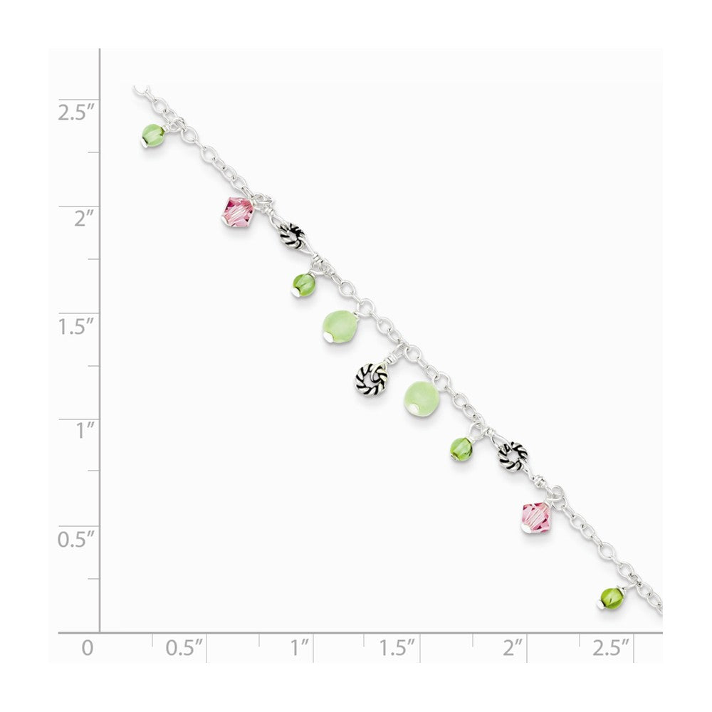Alternate view of the Sterling Silver Pink Crystal, Green Quartz And Peridot Anklet, 9 Inch by The Black Bow Jewelry Co.
