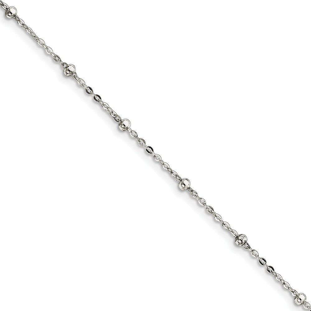 Sterling Silver Beaded Cable Chain Anklet, 9 Inch, Item A8288-09 by The Black Bow Jewelry Co.