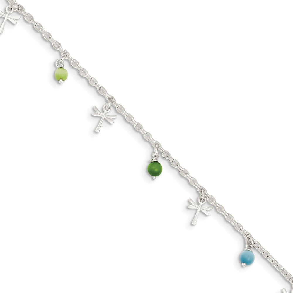 Sterling Silver Dragonfly And Glass Beaded Anklet, 10 Inch, Item A8291-10 by The Black Bow Jewelry Co.