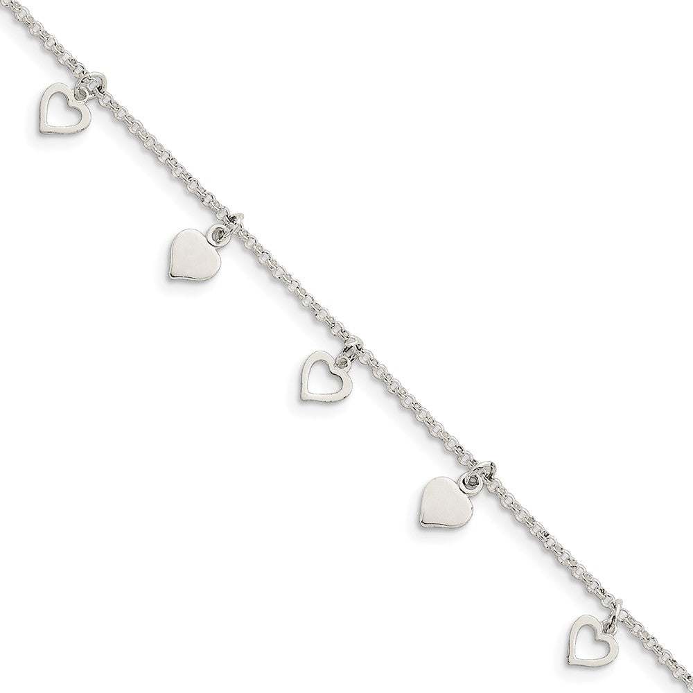 Sterling Silver Dangling Hearts Anklet, 10 Inch, Item A8292-10 by The Black Bow Jewelry Co.
