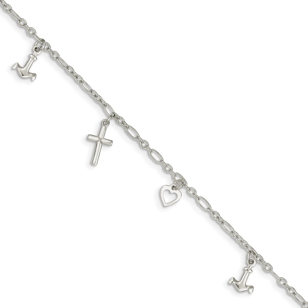 Sterling Silver Faith, Hope and Charity Anklet, 10 Inch, Item A8298-10 by The Black Bow Jewelry Co.