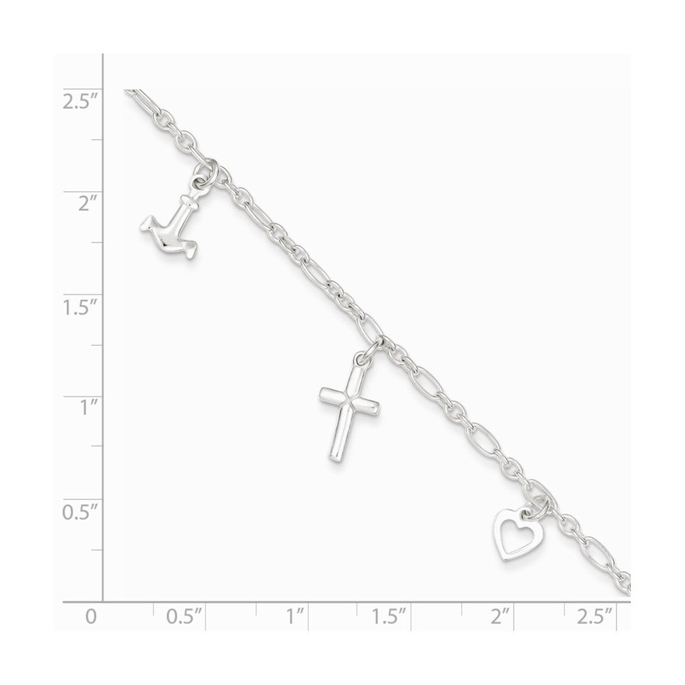 Alternate view of the Sterling Silver Faith, Hope and Charity Anklet, 10 Inch by The Black Bow Jewelry Co.