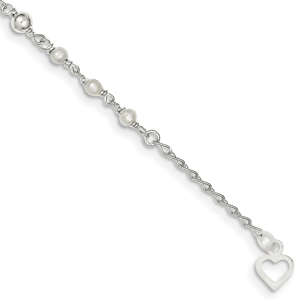 Alternate view of the Sterling Silver FW Cultured Pearl and Heart Anklet, 9-10 Inch by The Black Bow Jewelry Co.