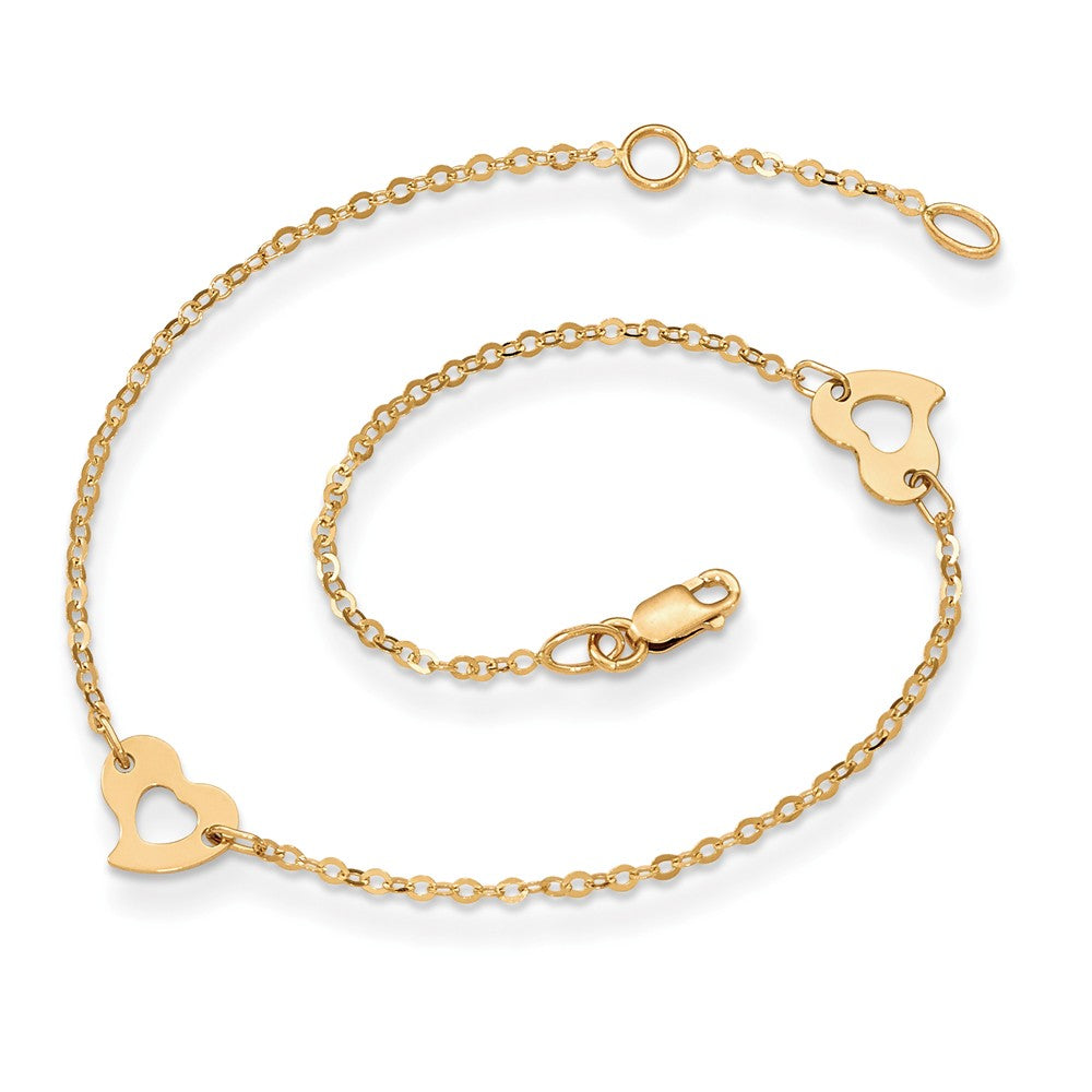 Alternate view of the 14k Yellow Gold Polished Heart Anklet, 10 Inch by The Black Bow Jewelry Co.