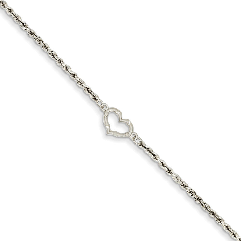 14k Gold White Gold Rope with Heart Anklet, 10 Inch, Item A8306-10 by The Black Bow Jewelry Co.