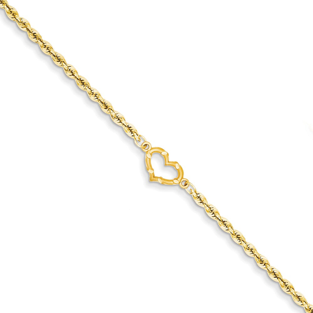14k Yellow Gold Rope with Heart Anklet, 10 Inch, Item A8307-10 by The Black Bow Jewelry Co.