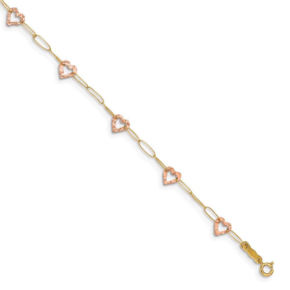 14k Two-Tone Gold Adjustable Heart Anklet, 9 Inch, Item A8312-09 by The Black Bow Jewelry Co.