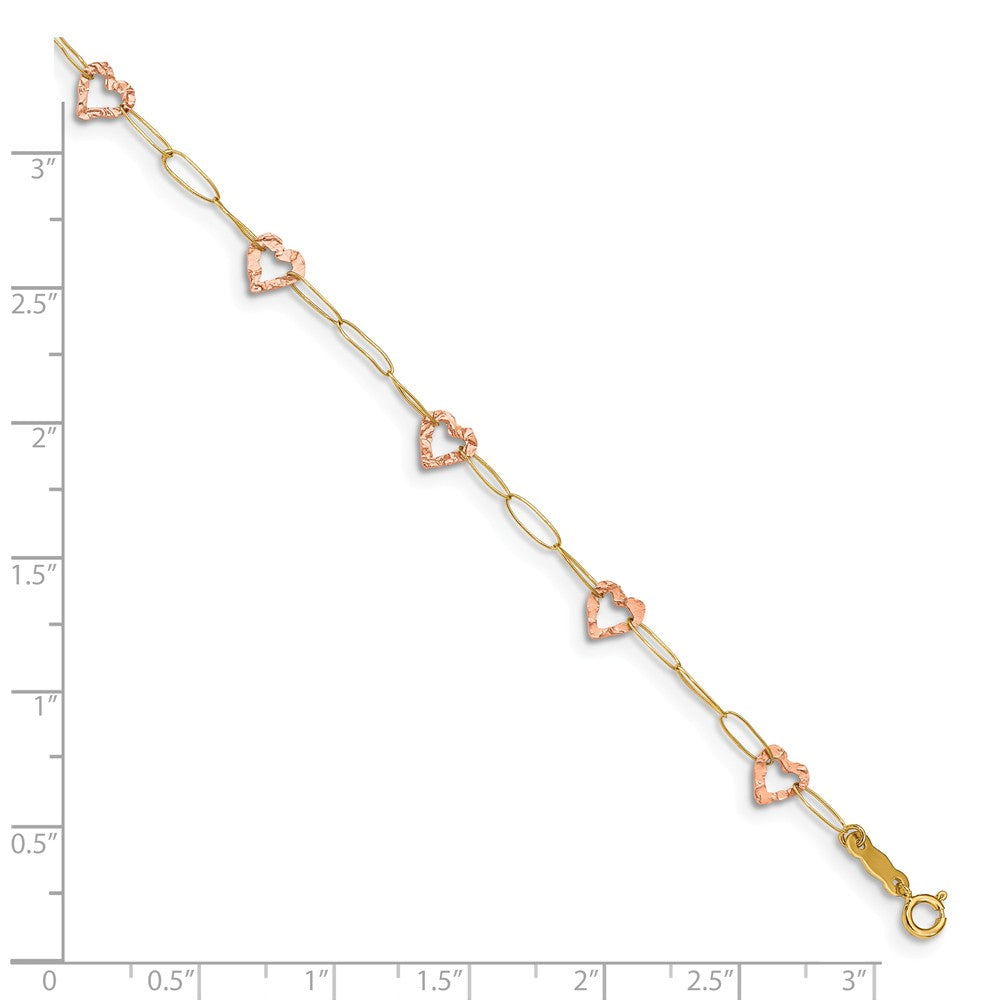 Alternate view of the 14k Two-Tone Gold Adjustable Heart Anklet, 9 Inch by The Black Bow Jewelry Co.