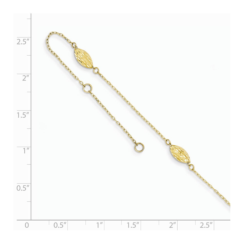 Alternate view of the 14k Yellow Gold Polished Puffed Rice Bead Anklet, 9 Inch by The Black Bow Jewelry Co.