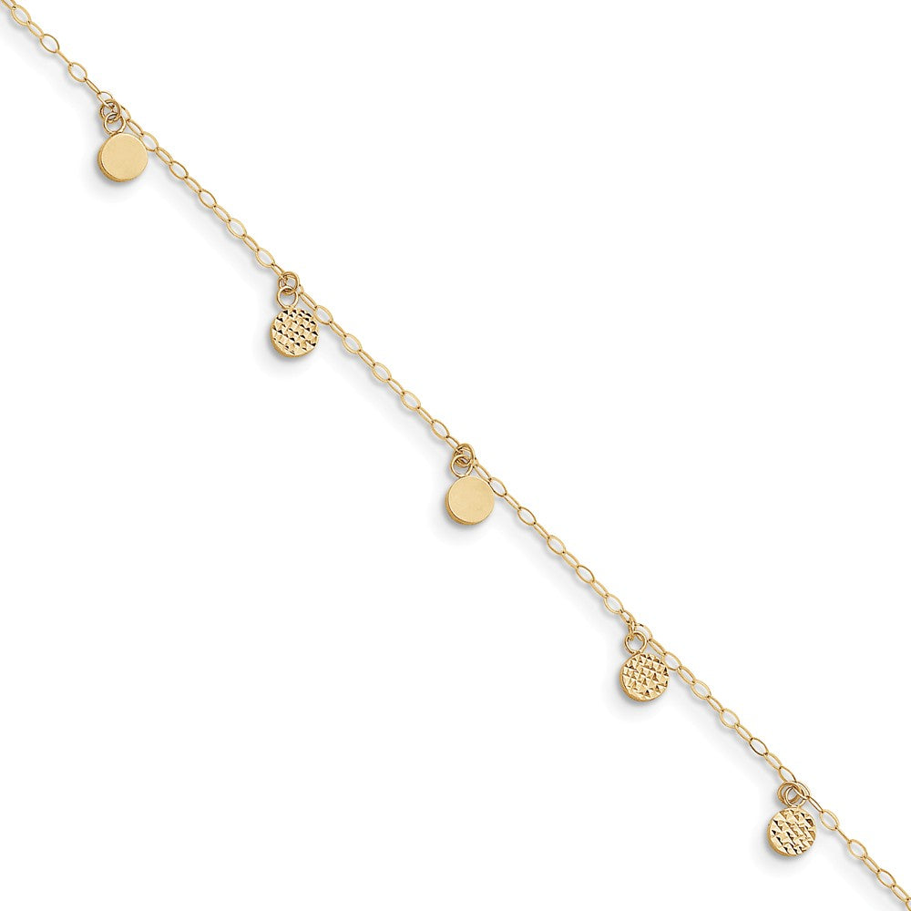 14k Yellow Gold 2mm Open Link And Hollow Dangle Circle Anklet, 9-10 In, Item A8340-10 by The Black Bow Jewelry Co.