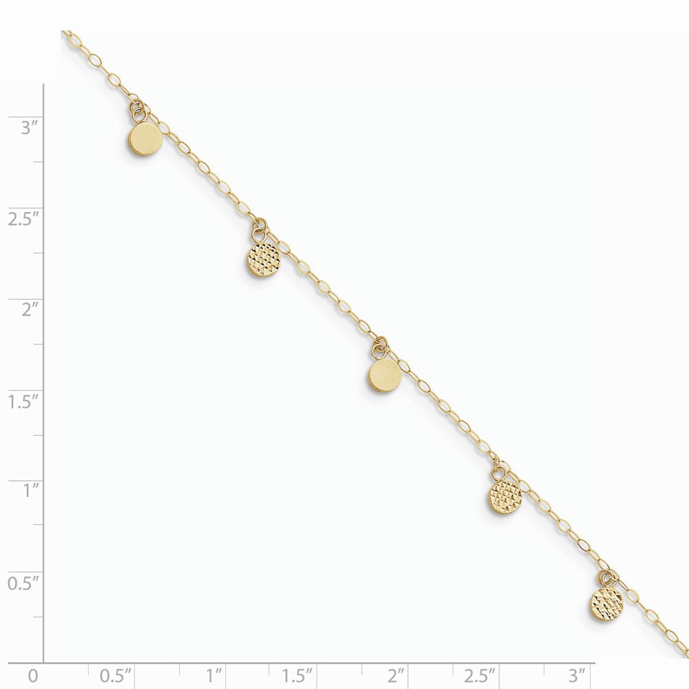 Alternate view of the 14k Yellow Gold 2mm Open Link And Hollow Dangle Circle Anklet, 9-10 In by The Black Bow Jewelry Co.