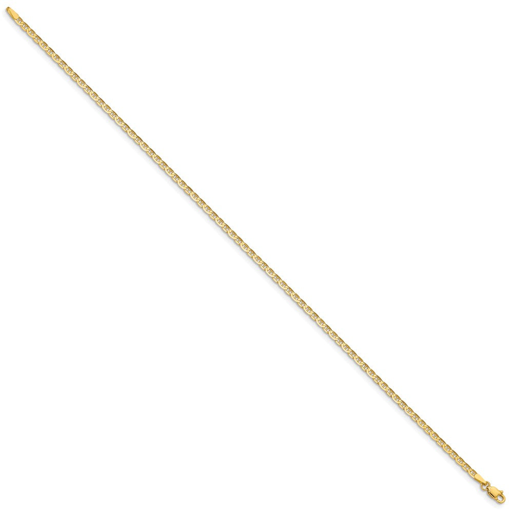 Alternate view of the 14k Yellow Gold 2mm Polished Solid Anchor Link Anklet by The Black Bow Jewelry Co.