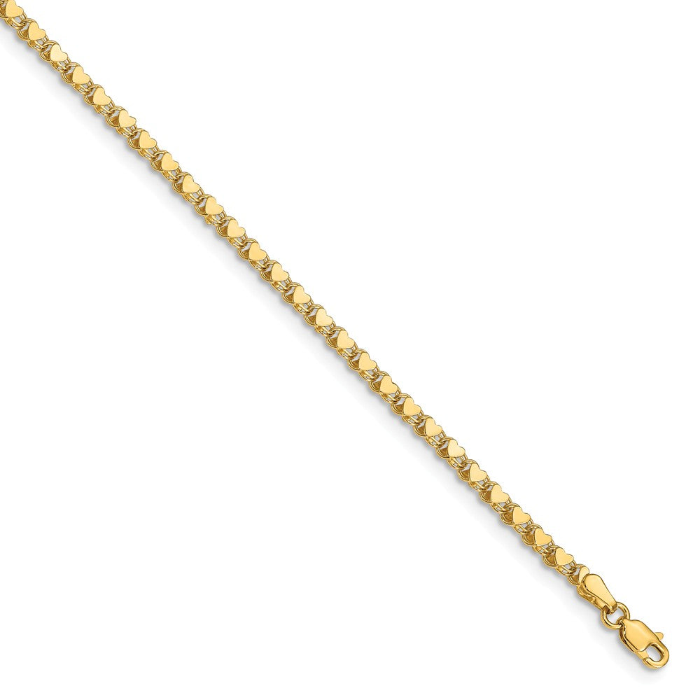 14k Yellow Gold 3mm Double-Sided Heart Anklet, 10 Inch, Item A8355-10 by The Black Bow Jewelry Co.