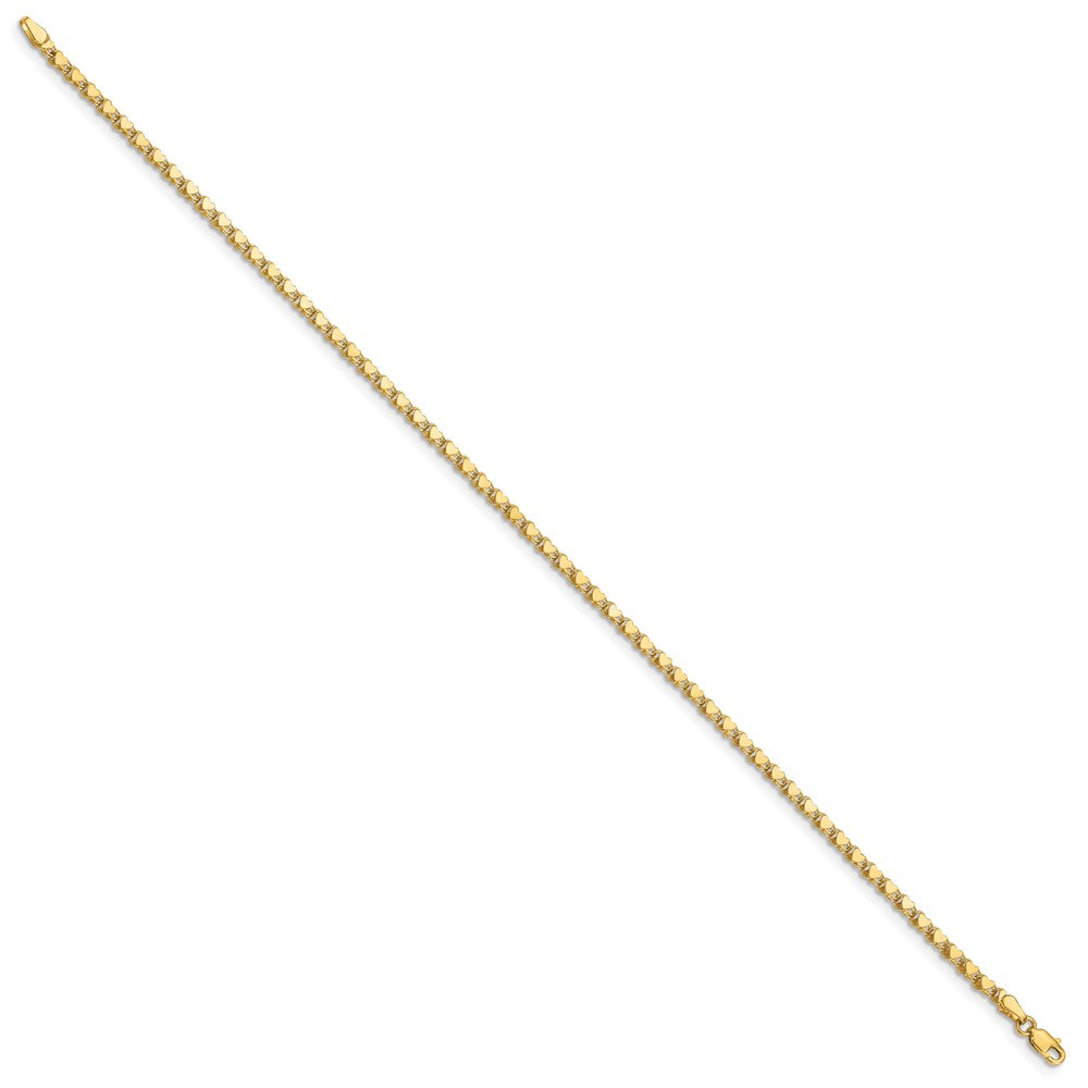 Alternate view of the 14k Yellow Gold 3mm Double-Sided Heart Anklet, 10 Inch by The Black Bow Jewelry Co.