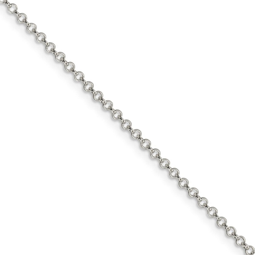 Sterling Silver 2mm Solid Rolo Chain Anklet - The Black Bow Jewelry Co.