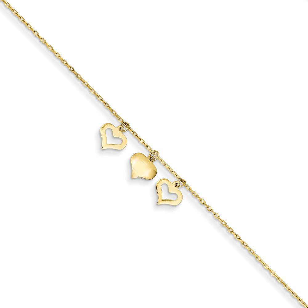 14k Yellow Gold 1mm Cable Chain And Triple Heart Charm Anklet, 9-10 In, Item A8459-10 by The Black Bow Jewelry Co.