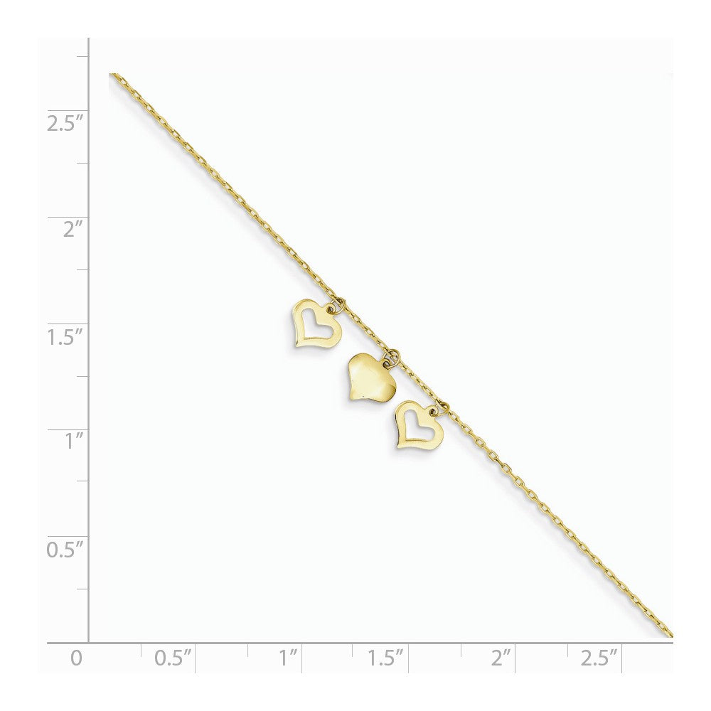Alternate view of the 14k Yellow Gold 1mm Cable Chain And Triple Heart Charm Anklet, 9-10 In by The Black Bow Jewelry Co.