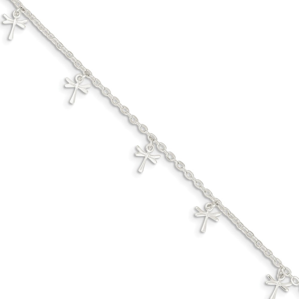 Sterling Silver 2.5mm Cable Chain And Dragonfly Charm Anklet, 9-10 In, Item A8463-9 by The Black Bow Jewelry Co.