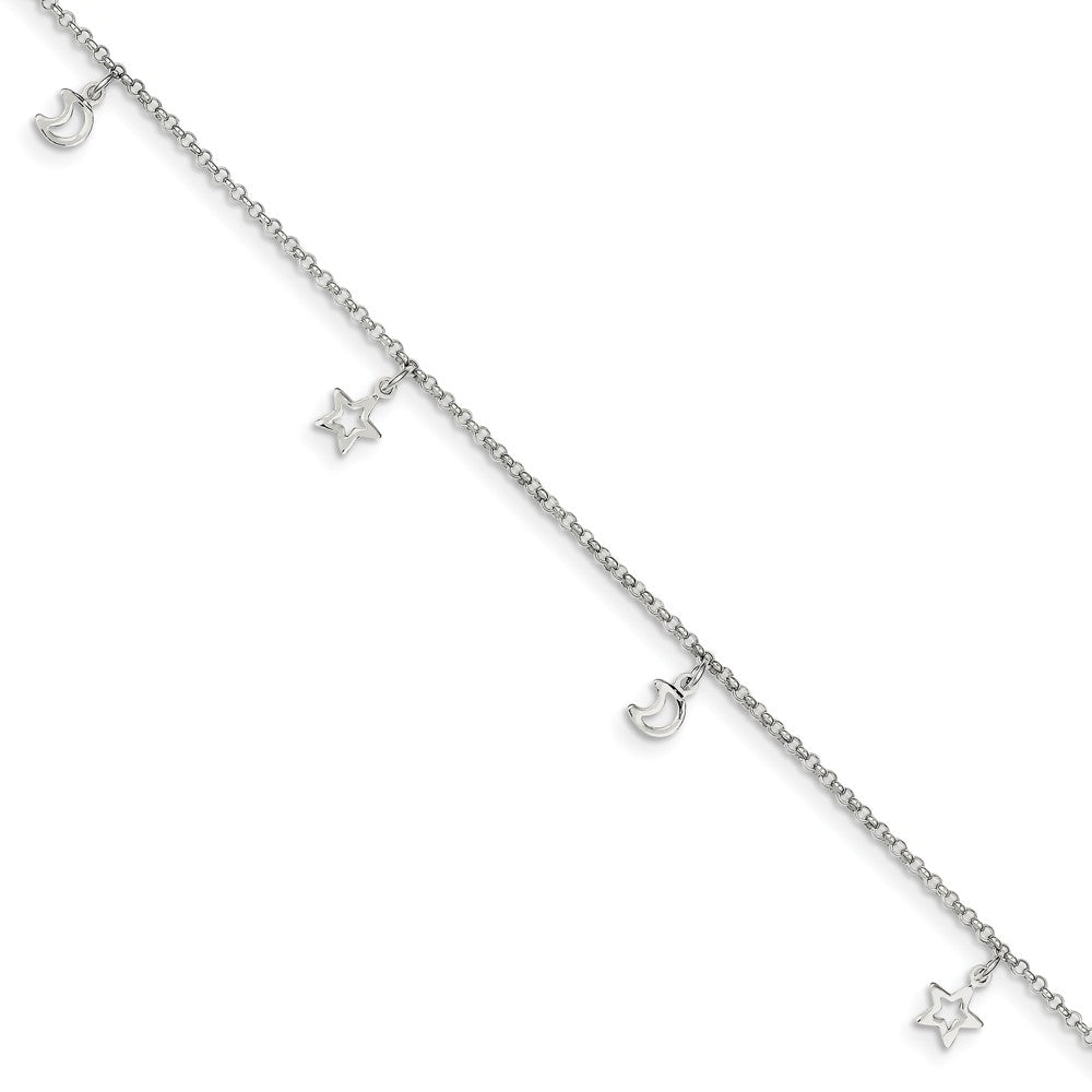 Sterling Silver 2mm Cable Chain Moon and Stars Charm Anklet, 9-10 Inch, Item A8464-9 by The Black Bow Jewelry Co.