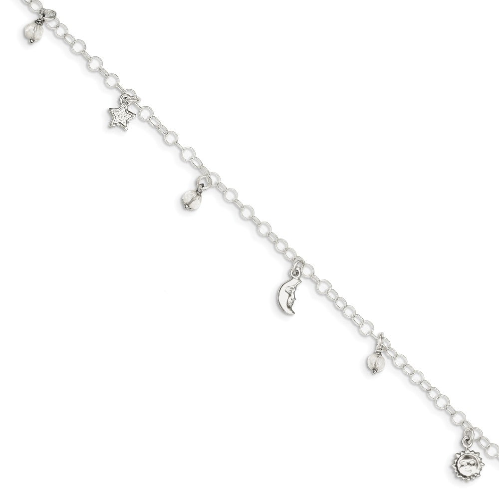 Alternate view of the Sterling Silver 4mm Cable And Crystal Celestial Charm Anklet, 9-10 In by The Black Bow Jewelry Co.