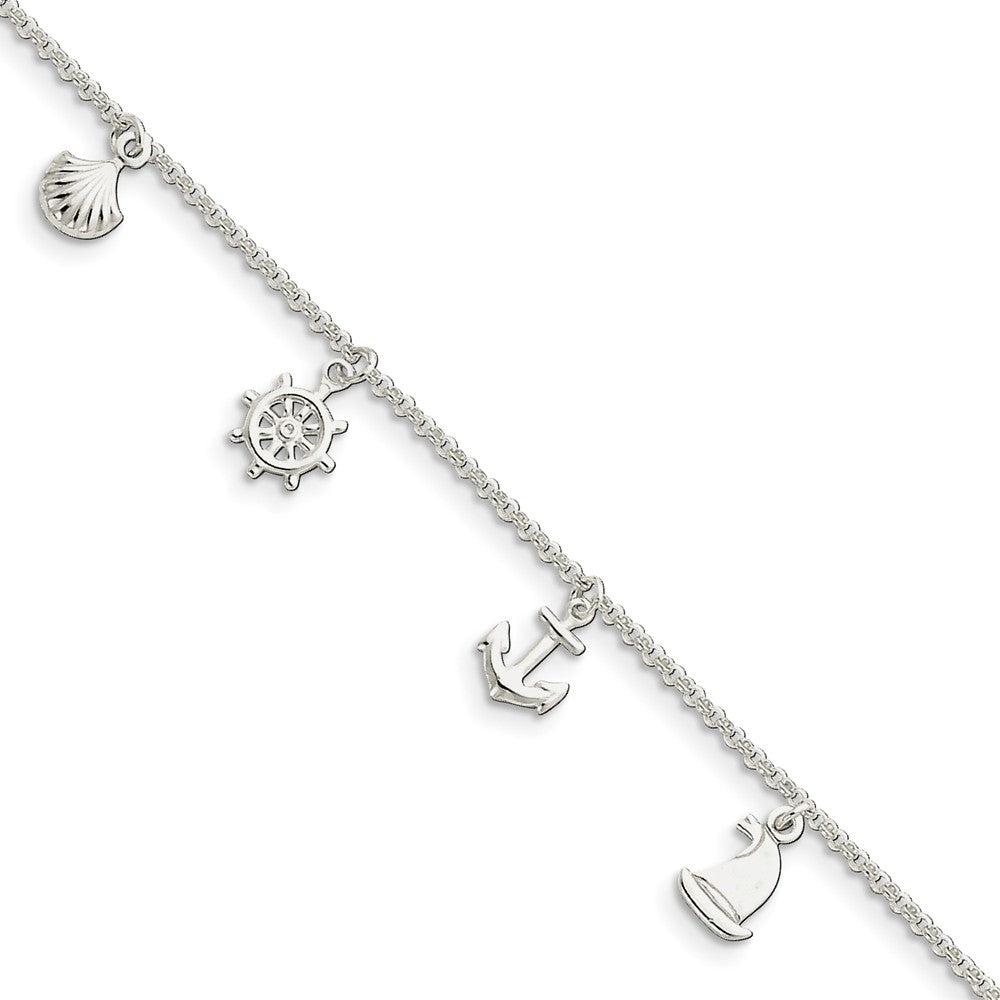 Sterling Silver 2mm Rolo Chain And Nautical Charm Anklet, 9-10 Inch, Item A8470-9 by The Black Bow Jewelry Co.