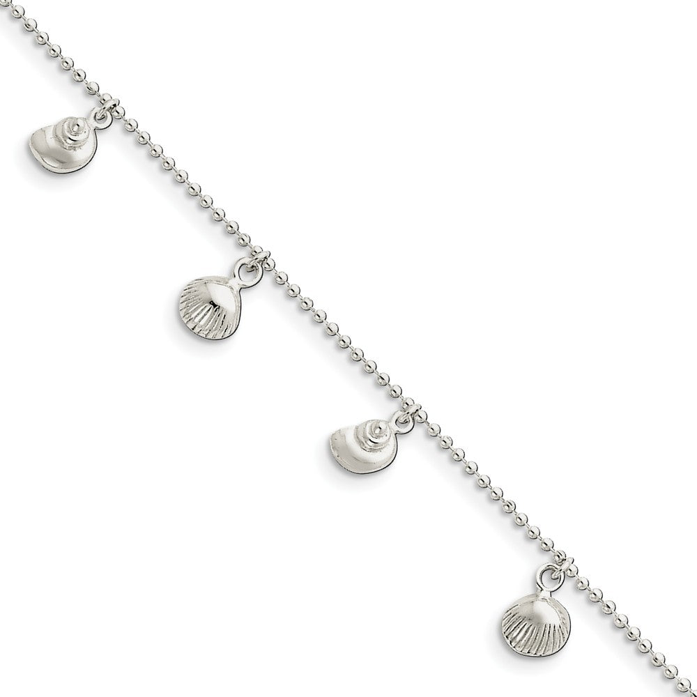 Sterling Silver 1.5mm Bead Chain And Sea Shell Charm Anklet, 9-10 Inch, Item A8471-9 by The Black Bow Jewelry Co.