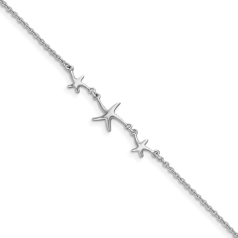 Rhodium-Plated Sterling Silver Three Sea Stars Anklet, 10-11 Inch, Item A8472-10 by The Black Bow Jewelry Co.