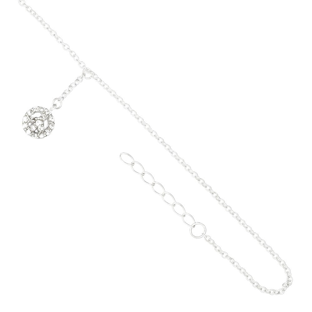 Alternate view of the Rhodium-Plated Sterling Silver And CZ Peace Charm Anklet, 9-10 Inch by The Black Bow Jewelry Co.
