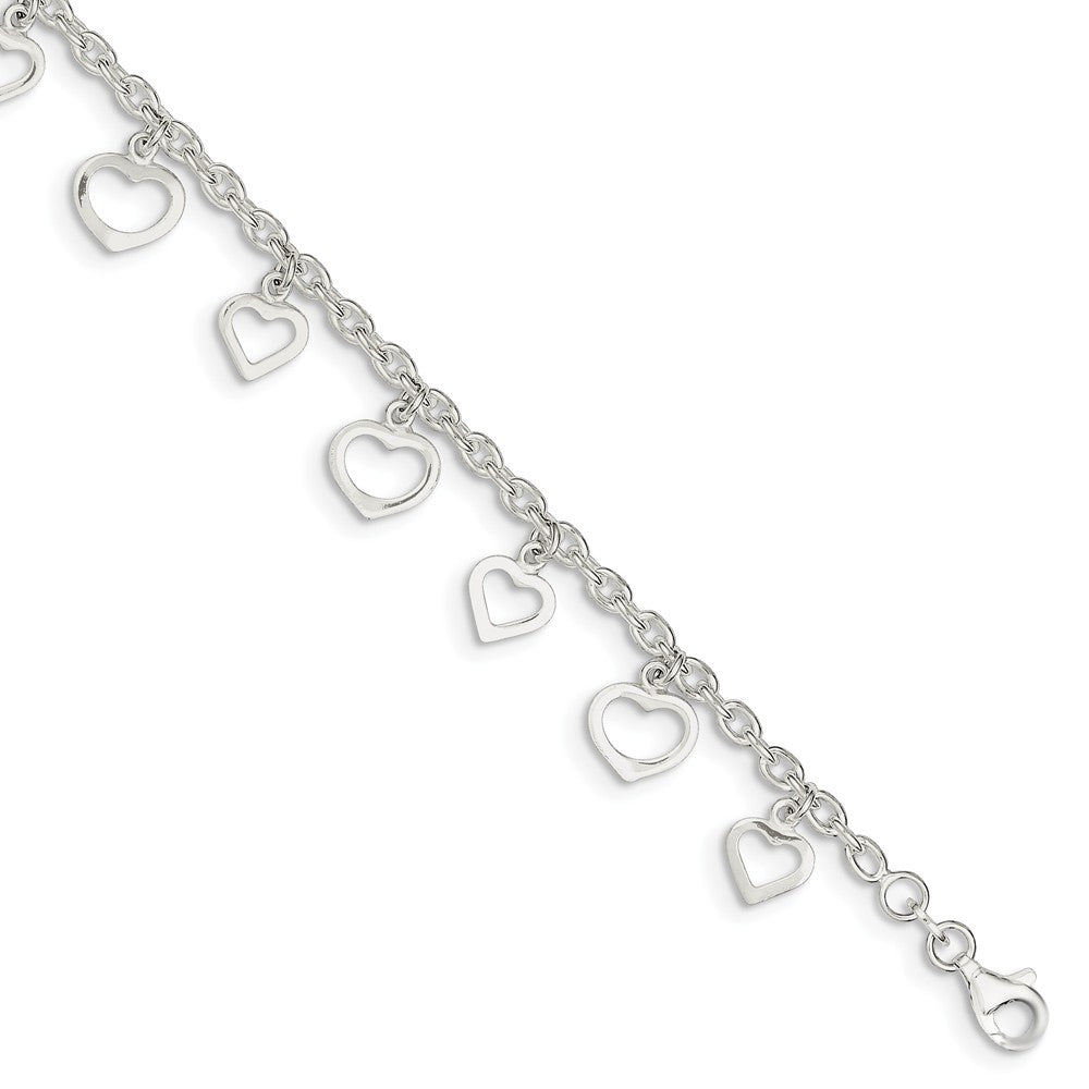 Sterling Silver 2.5mm Cable Chain And Dangling Open Heart Anklet, 9 In, Item A8490-9 by The Black Bow Jewelry Co.