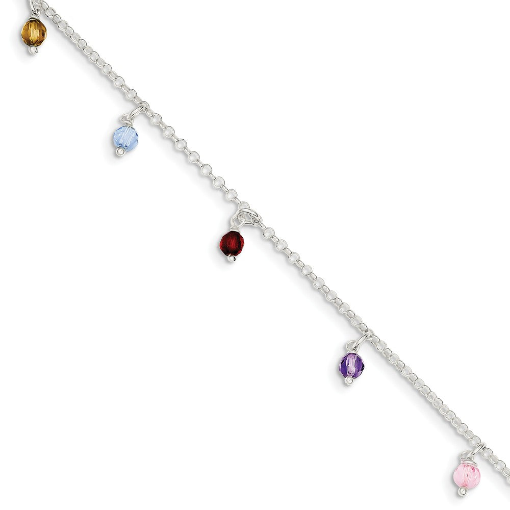 Multicolored Crystal And Sterling Silver 2mm Cable Anklet, 9-10 In, Item A8493-9 by The Black Bow Jewelry Co.