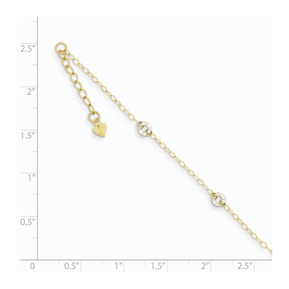 Alternate view of the 14k Two-Tone Gold Adjustable Oval Chain and Wavy Circle Anklet, 9 Inch by The Black Bow Jewelry Co.
