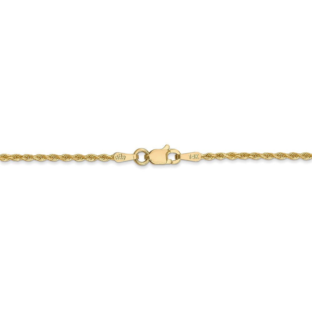 Alternate view of the 14k Yellow Gold 1.5mm Diamond Cut Rope Chain Anklet by The Black Bow Jewelry Co.